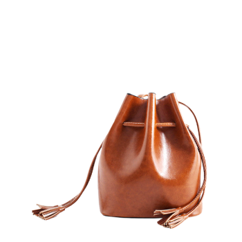 PU Leather Drawstring Tassels Crossbody Bag