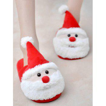 Color Block Flock Christmas Slippers - RED SIZE(39-40)