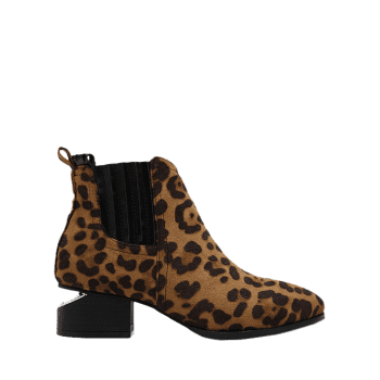 Splicing Stitching Leopard Print Ankle Boots