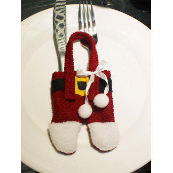 Christmas Santa Pants Knives and Forks Bag Table Decoration - RED WITH WHITE RED/WHITE
