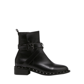 Cross Strap PU Leather Rivet Boots