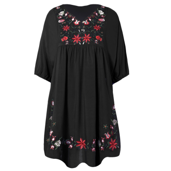 Embroidered Bib A Line Dress
