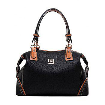 Trendy Stitching and PU Leather Design Tote Bag For Women