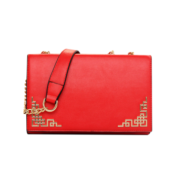 Chinese Style Metallic and PU Leather Design Crossbody Bag For Women