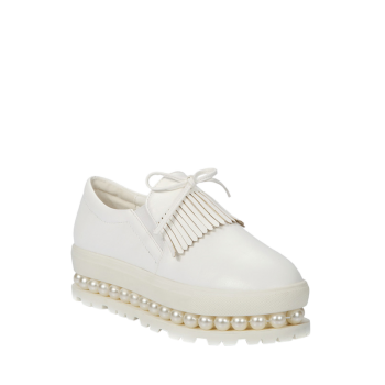 Leisure Fringe and Faux Pearl Design Platform Shoes For Women
