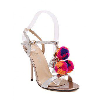 Trendy Pompon and T-Strap Design Sandals For Women