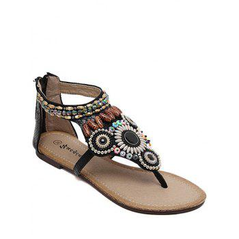 Bohemian Style Beading and Flat Heel Design Sandals For Women