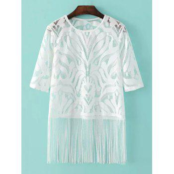 Stylish Round Neck Half Sleeve Mesh Tassels Women's T-Shirt