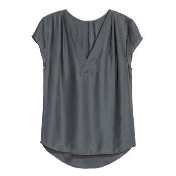 Stylish V Neck Short Sleeve Loose Solid Color Women's T-Shirt