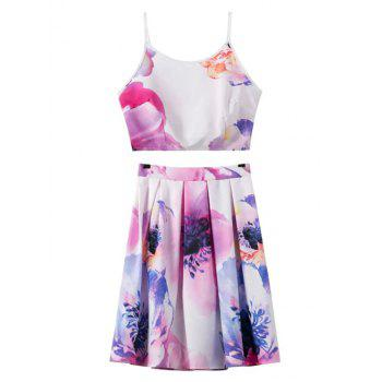 Stylish Floral Print Cami Crop Top and A-Line Skirt Women's Suit