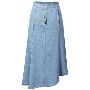 Fashion Hip Pockets Asymmetrical Women's Denim Skirt
