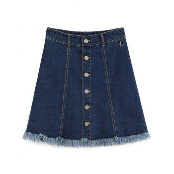 Chic Button-Front Blue Denim Women's Mini Skirt