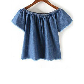Stylish Off The Shoulder Short Sleeve Blue Denim Women's T-Shirt