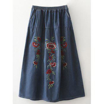 Stylish High Waist Ethnic Style Floral Embroidered Denim Women's Skirt