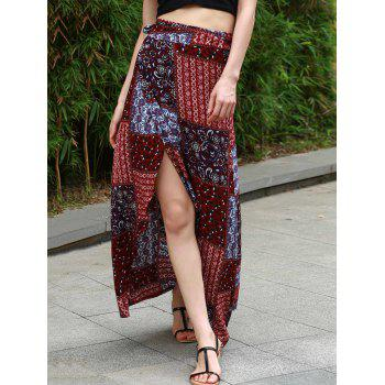 High Waist Ethnic Print High Low Women's Skirt