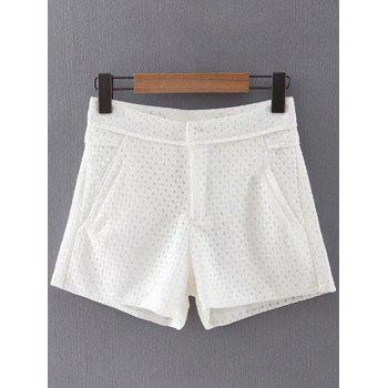 Trendy Solid Color Pockets Lace Shorts For Women