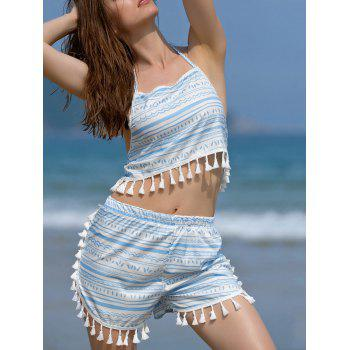 Stylish Halter Printed Crop Top and Shorts Twinset For Women