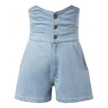Stylish High Waist Solid Color Denim Women's Shorts