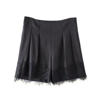 Stylish High Waist Black Lace Splice Women's Shorts