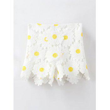Stylish High Waist Sunflowers Lace Women's Shorts