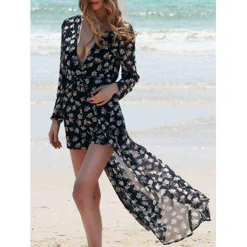 Elegant Plunging Neck Long Sleeve Floral Print Women's Dovetail Romper