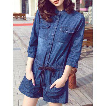 Stylish Button Down Drawstring Design Women's Playsuit