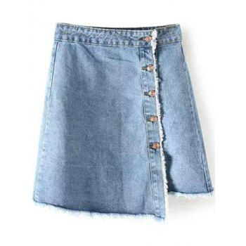 Button Up Frayed Hem Denim Skirt