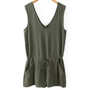Stylish V Neck Sleeveless Solid Color Women's Romper