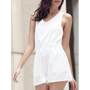 Stylish V-Neck Lace Spliced Cut Out Romper For Women