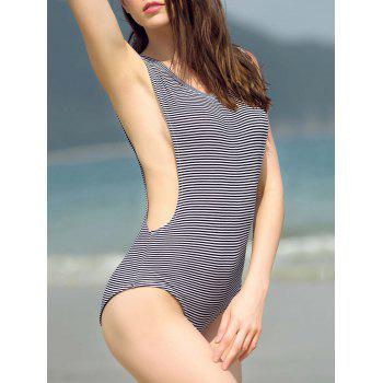 Striped Cut Out Zippered Bodysuit