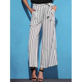 High Waist Striped Wide Leg Women's Pants - WHITE M