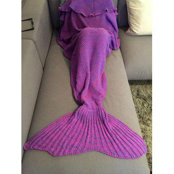 Stylish Comfortable Falbala Decor Knitted Mermaid Design Throw Blanket - PURPLE PURPLE