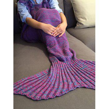Chic Quality Comfortable Drawstring Style Knitted Mermaid Design Throw Blanket - PURPLE PURPLE