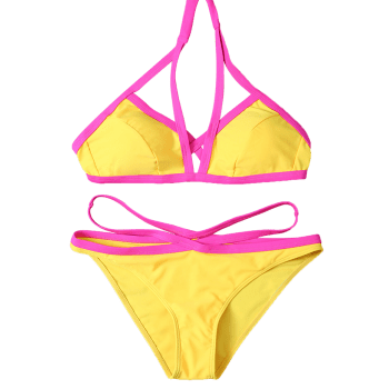 Halter High Cut Color Block Bikini Set - YELLOW M