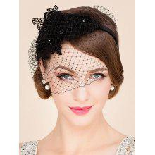 Elegant Lady Lace Flower and Fascinator Veil Design Banquet Party Black Cocktails Hat