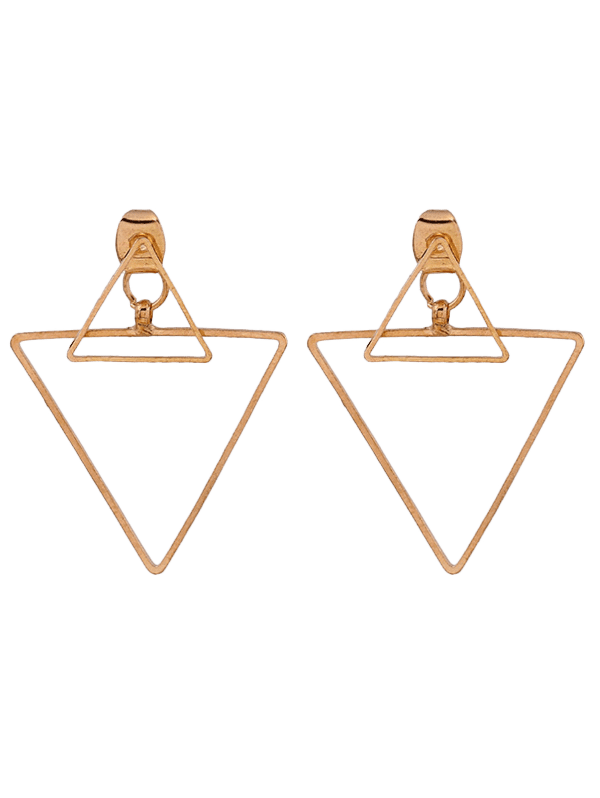 Punk Hollowed Triangle Ear Jackets - GOLDEN