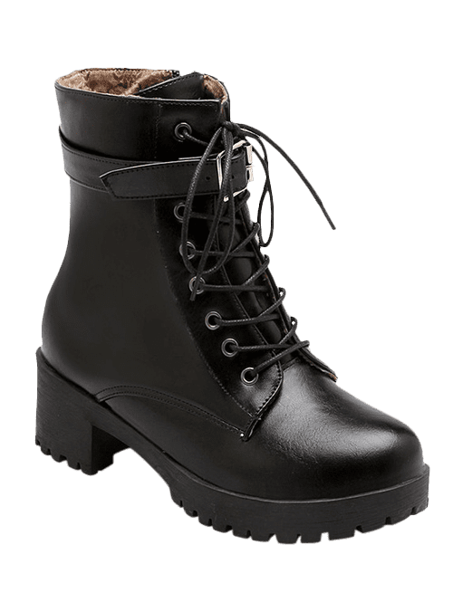 Fashionable Lace-Up and Buckle Design Women's Short Boots - BLACK 38