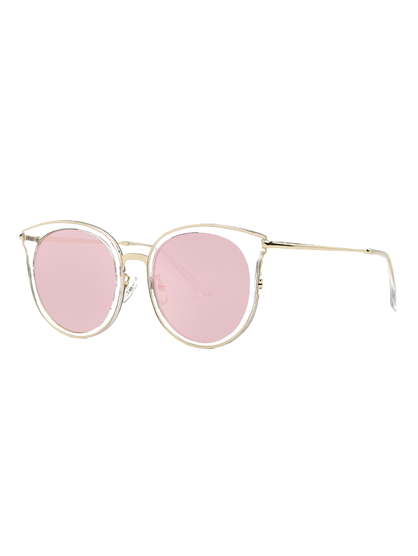Stylish Transparent Cat Eye Mirrored Sunglasses - PINK