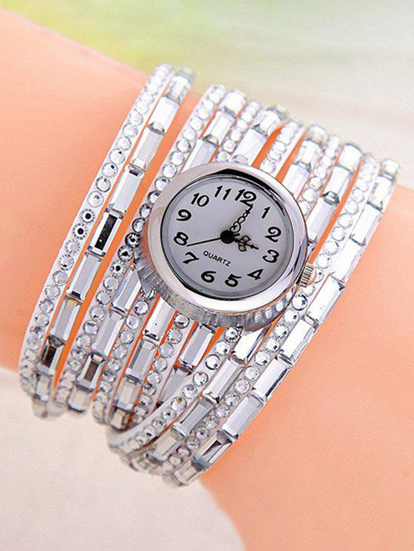 Quartz Rhinestone Wrap Bracelet Watch - WHITE