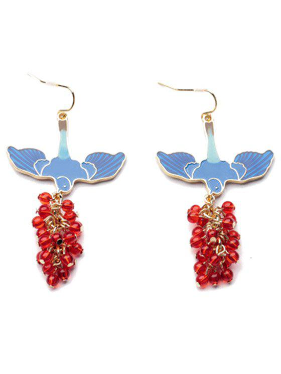 Pair of Beads Pendant Earrings - BLUE/RED