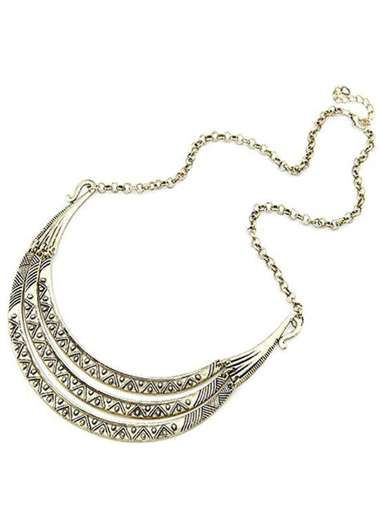 Tribal Style Alloy Carve Pendant Necklace - LIGHT GOLD