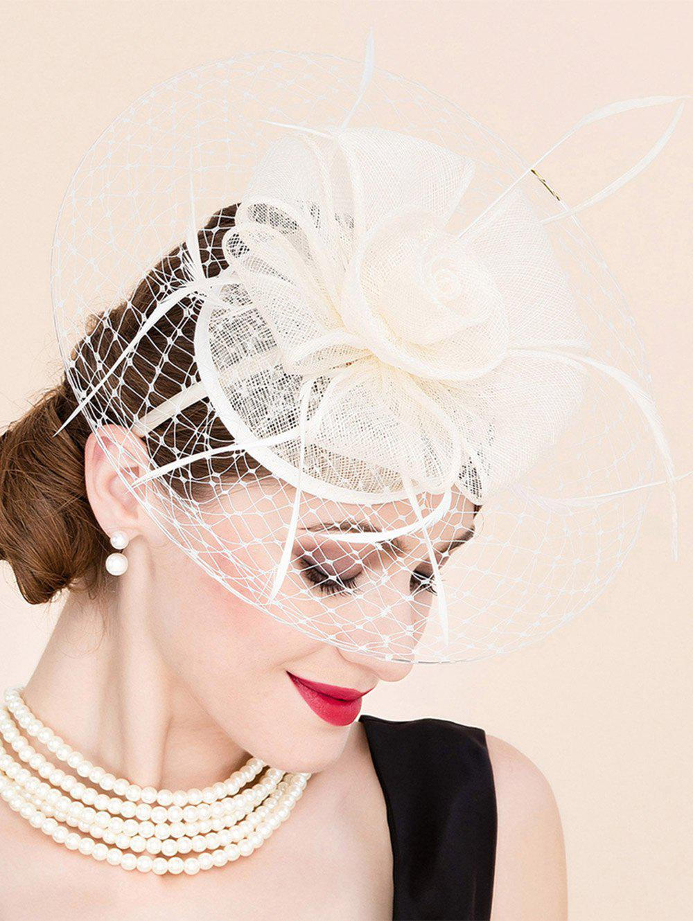 Elegant Lady Flower Feather Fascinator Wedding Tea Party Bridal Veil Cocktails Hat - OFF WHITE