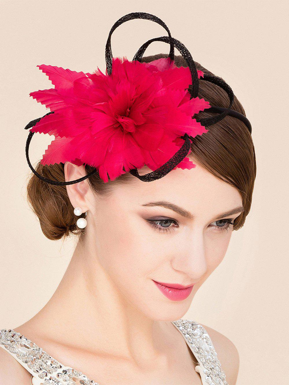Elegant Lady Red Feathered Flower Bridal Fascinator Wedding Tea Party Cocktails Hat - RED