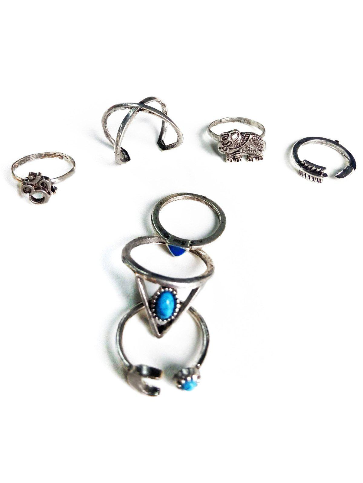 Moon Elephant Ethnic Style Rings - SILVER