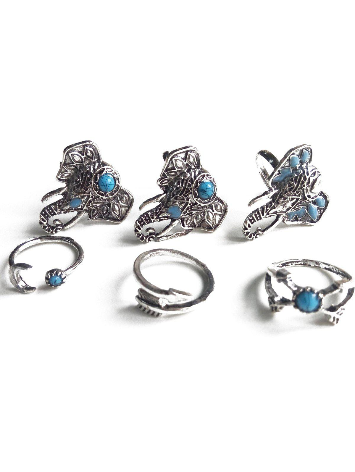 Ethnic Style Faux Turquoise Elephant Head Rings - SILVER