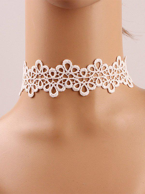 Hollow Out Lace Crochet Flower Choker Necklace 13 9cm aluminum alloy outdoor sports carabiner w sponge purple