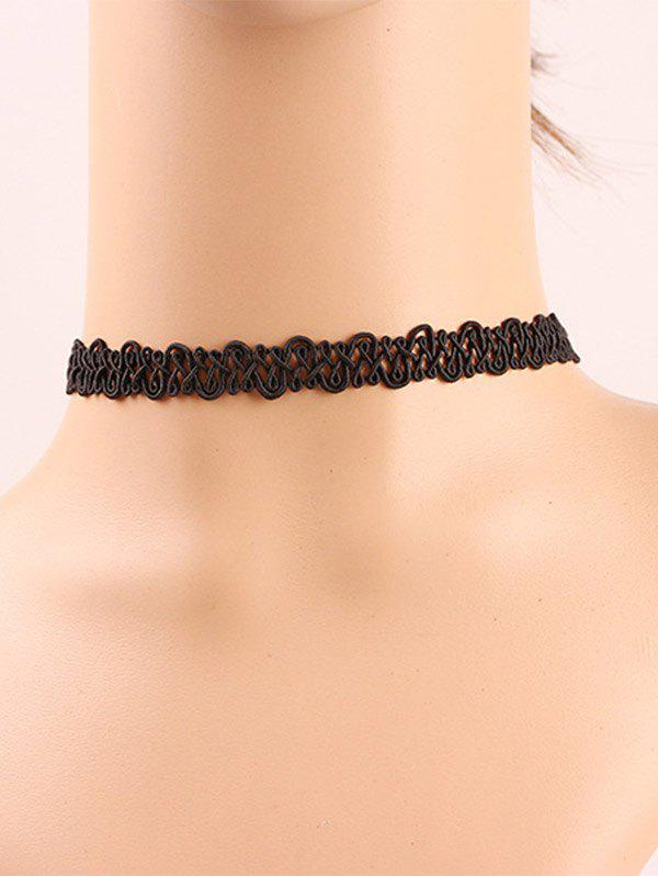 Retro Style Hollow Out Black Lace Choker Necklace - BLACK