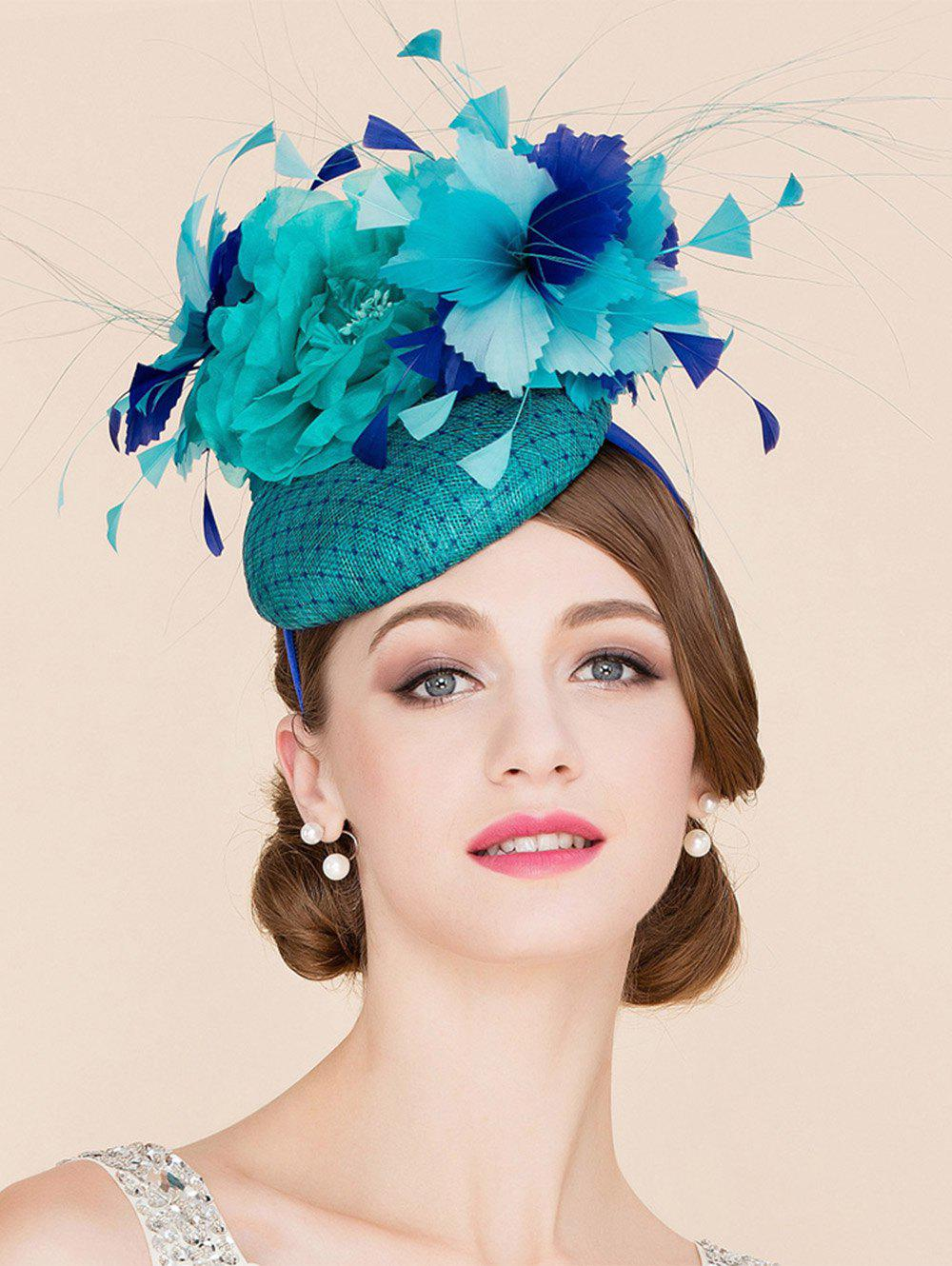 Novelty Flower Feather Fascinator Headband Wedding Banquet Party Pillbox Hat - LAKE BLUE