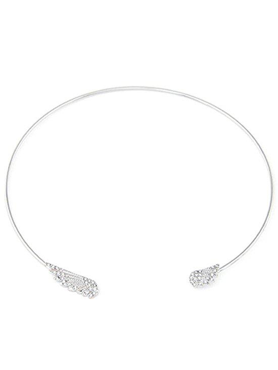 Angel Wings Rhinestone Chokers Necklace - SILVER