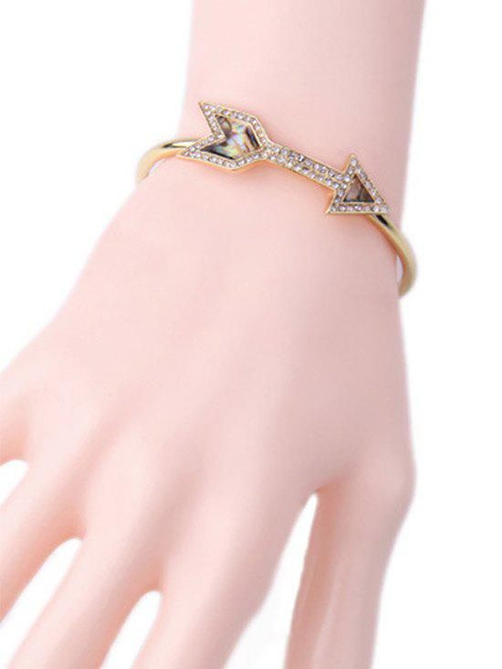 Rhinestone Arrow Cuff Bracelet - GOLDEN
